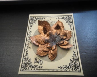 Copper Leaf Brooch / Pin Unsigned
