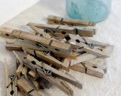 Rustic and Farmhouse Chic Wooden Clothespins. Set of 20.