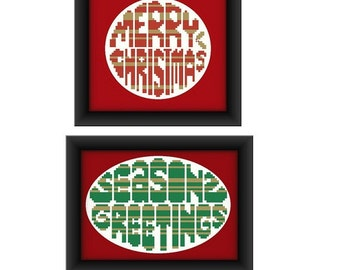 christmas cross stitch patterns x 2 christmas card patterns. Black Bedroom Furniture Sets. Home Design Ideas