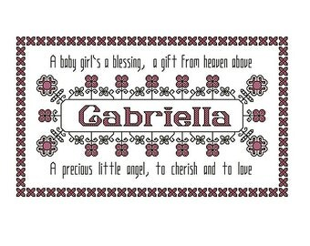 cross stitch pattern, baby girl name sampler with poem, personalise with any name