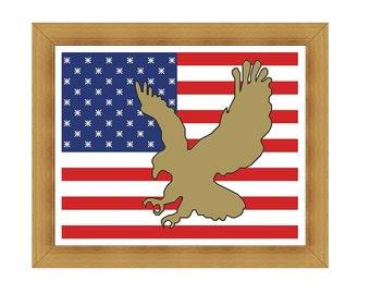 American flag & Eagle cross stitch pattern PDF chart