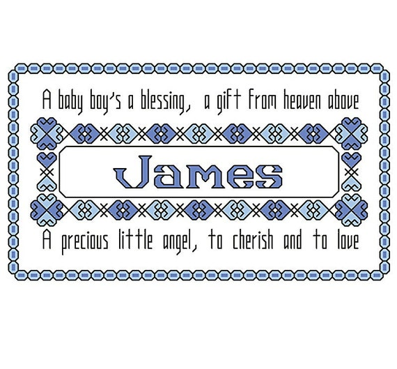 Baby name sampler cross stitch pattern with poem, baby boy, personalized with any name