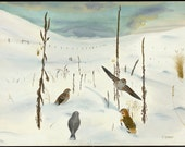 Snow Bunting, Tree Sparrows and Junco Near Winter Solstice, card featuring watercolor painted on winter prairie location