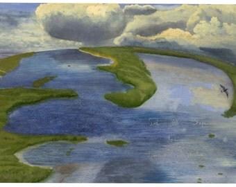 Watercolor Landscape Print Marsh Seascape Salt Marsh Storm clouds Giclee in Wood Frame