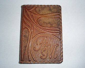 PASSPORT COVER HOLDER -  Personalized Leather Travel Gift Art Craft Handmade