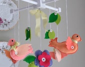 Infant Baby Nursery Mobile - Pretty Birds - Pink