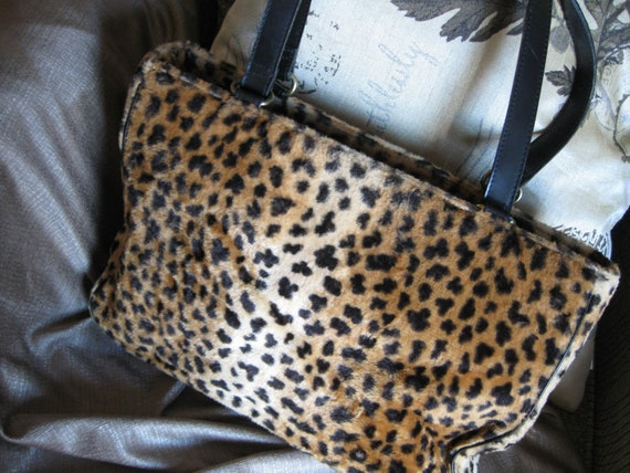 REDUCED PRICE  Vintage Faux Fur Leopard Handbag The Gap 1990  Steam Punk   Fun  Pocketbook  Purse