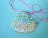 pastel nonpareil resin heart necklace