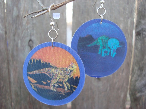 holographic 90s dinosaur POG earrings: brachylophosaurus and triceratops