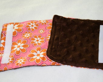SALE Baby Girl Car Seat Stroller Strap Cover with Minky Bright Pink Flowers // In Stock Ready to Ship
