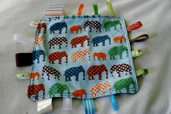 Elephants on Parade Tag Blanket with bright blue minky // In Stock, READY TO SHIP