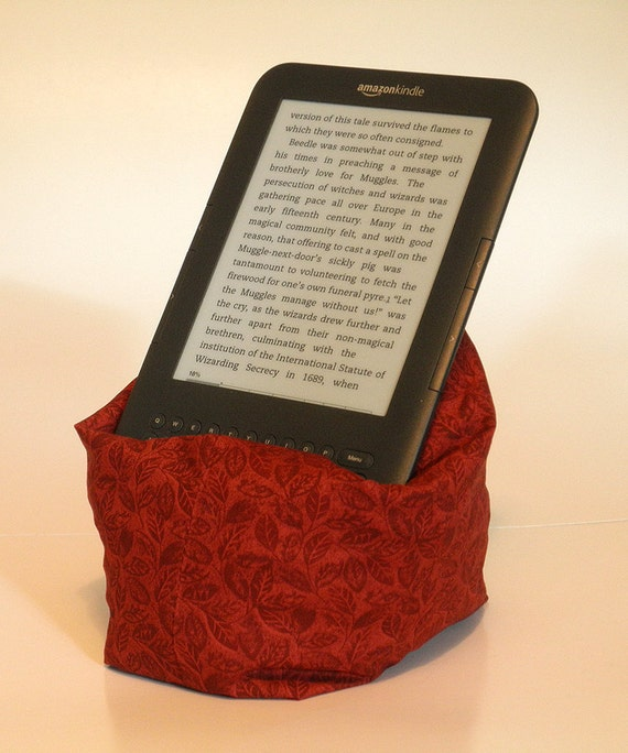 Kindle Or Nook Pillow Red Leaf Pattern