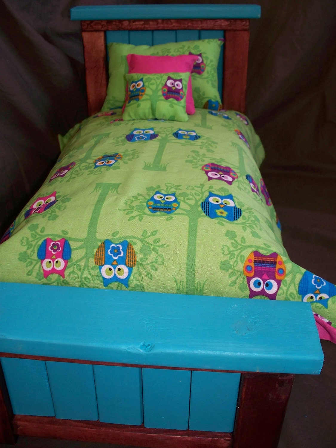 Cute Owl Bedding Set For American Girl Or By Sassysweetdollboutiq
