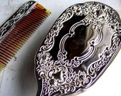 Vintage Silver plate Hair Brush & Tortoise Comb Set 1940's Hollywood Glamour
