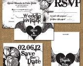Gothic Style Printable Wedding Invitation Suite