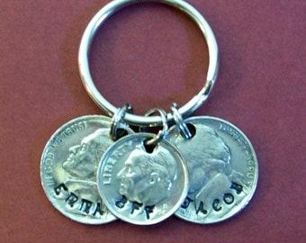 bff best friends coin keychain, bff key chain, bff key ring fob, custom personalized keychain, genuine U.S. nickel and dime coins.