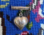 Vtg Sweet Puffy Dangling Heart Sterling Bar Brooch Chased Carved