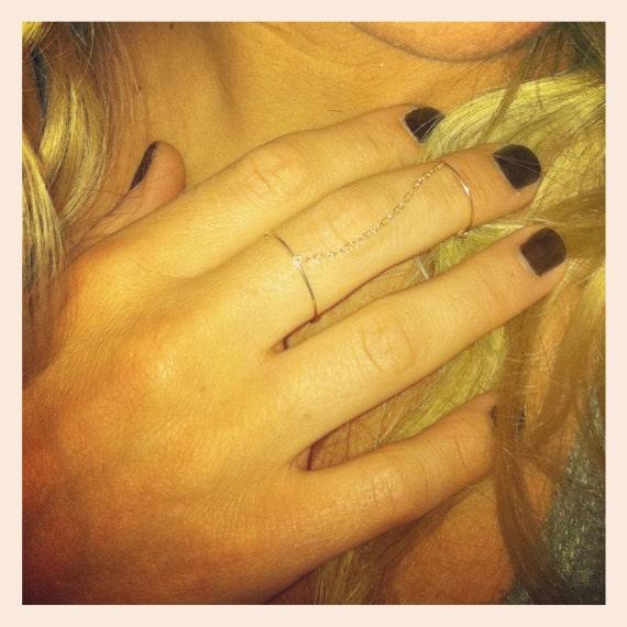 C H A I N + M I N I M A L - gold filled double chain ring