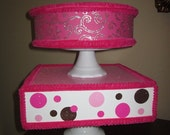 Cake Pop Stand or CupCake stand Hot pink and brown polkadot 2 layer