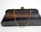 Classic Black Vintage Elongated Clutch Purse with Colorful Striped Interior, Gold Chain Handle, Vinyl, Faux-Leather Exterior