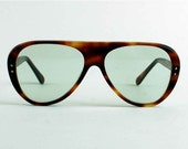 Vintage Safety Glasses. Brown Faux Tortoise Shell Aviator Frames with Tinted Lenses.