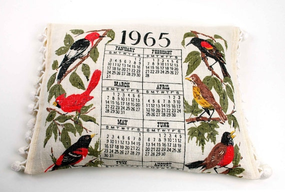 Catnip Cat Bed Pillow Made Using 1965 Calendar Linen Textile and Vintage Pom Pom Tassels