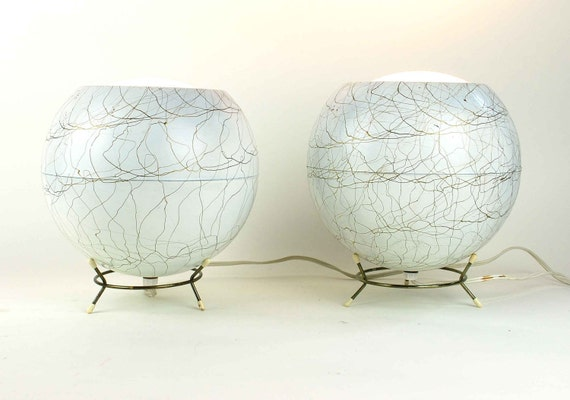 Reserved for treinaa // Pair of Vintage Eyeball Lamps with Original Metal Bases, White and Gold Mid-Century Orb Lights