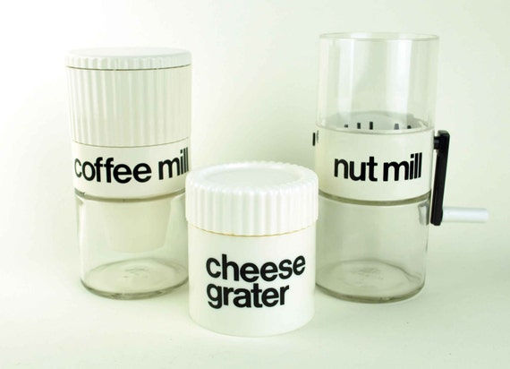 Vintage Coffee Mill, Cheese Grater, and Nut Mill in Helvetica Font, Gemco Instant Collection