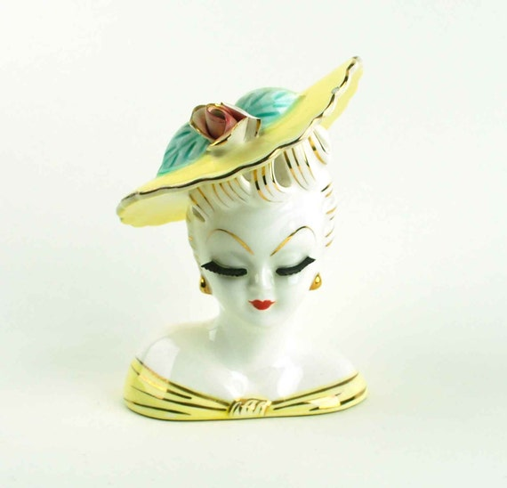 Vintage Lefton Lady Head Vase Planter With Yellow Hat, Made in Japan
