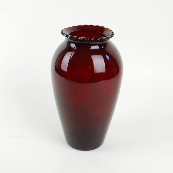 Large Ruby Red Glass Vase with Scalloped Edge