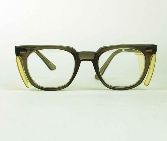 Horn Rimmed Vintage Safety Glasses with Non-Prescription Lenses and Side Safety Panels