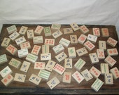 Lot of 60 Vintage Wooden Mahjong Game Pieces