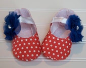Coral Mary Jane Baby Girl Shoes with Blue Flower and White Ribbon