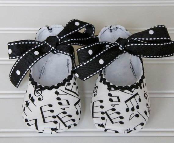 Musical Note Baby Ballerina Shoes Black and White