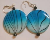 FUN and FUNKY Blue, white and black Zebra Striped Mother of pearl dangle earrings