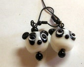 ADORABLE LAMPWORK Panda Dangle earrings
