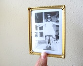 Small gold vintage metal photo frame