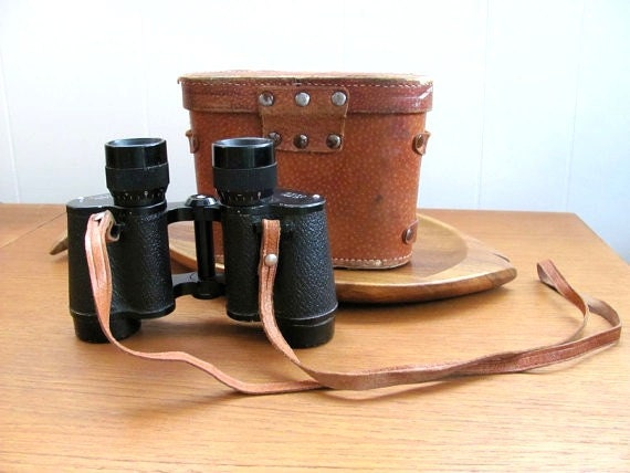 Vintage Dickson binoculars in pink velvet lined leather travel case