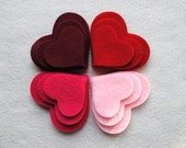 36 Piece Die Cut Felt Hearts, Reds