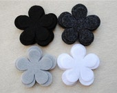 24 Piece Die Cut Felt Flowers, Black and White, Flower Style No. 5A