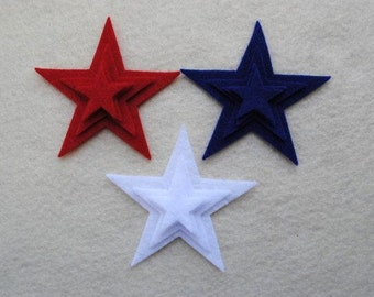 36 Piece Die Cut Large Felt Stars, Red, White and Blue