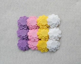 48 Piece Die Cut Tiny WOOL BLEND Felt Flower Set, Spring Pastel