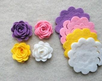12 Piece Die Cut WOOL BLEND Felt DIY 3D Roses in Small Size, Spring Pastel