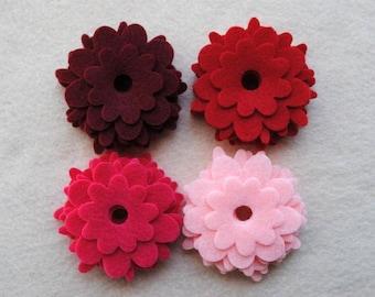 36 Piece Die Cut Felt Flowers, Reds, Flower Style No. 3