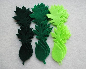 36 Piece Die Cut Felt Leaves, Style No. 2, Tattered Leaves
