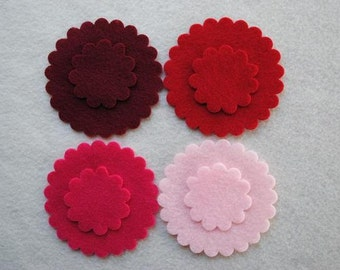 24 Piece Die Cut Felt Scallop Circles, Reds