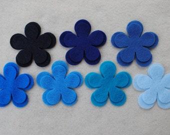 42 Piece Die Cut Felt Flowers, Blues, Flower Style No. 5A