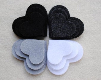 36 Piece Die Cut Felt Hearts, Black and White
