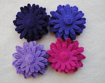 60 Piece Die Cut Felt Flowers, Purples, Flower Style No. 3A