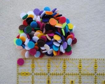 100 Die Cut Felt Mini Circles, Variety of Colors